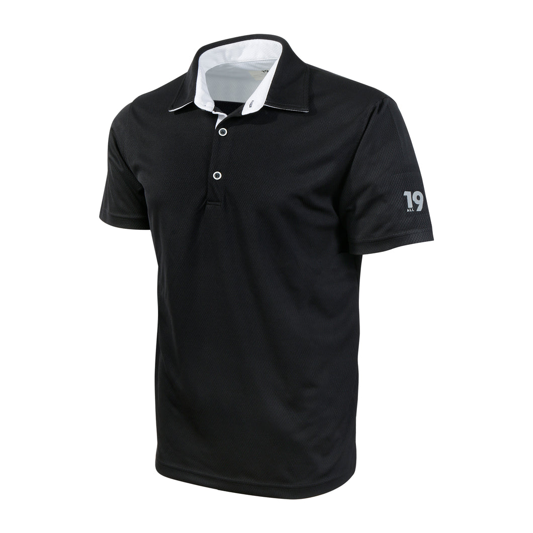 ECO Polo, Recycled Polyester, Black with White contrast