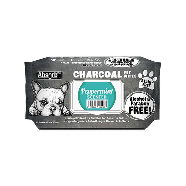 Charcoal Pet Wipes Peppermint Scented 80 sheets
