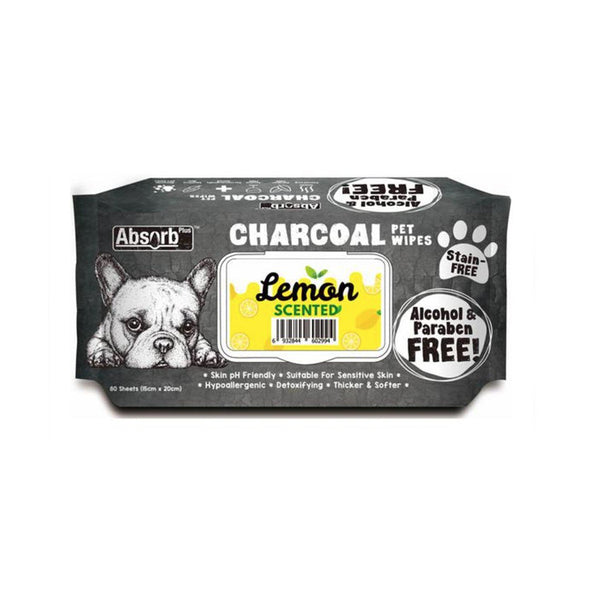 Charcoal  Pet Wipes Lemon Scented 80 sheets