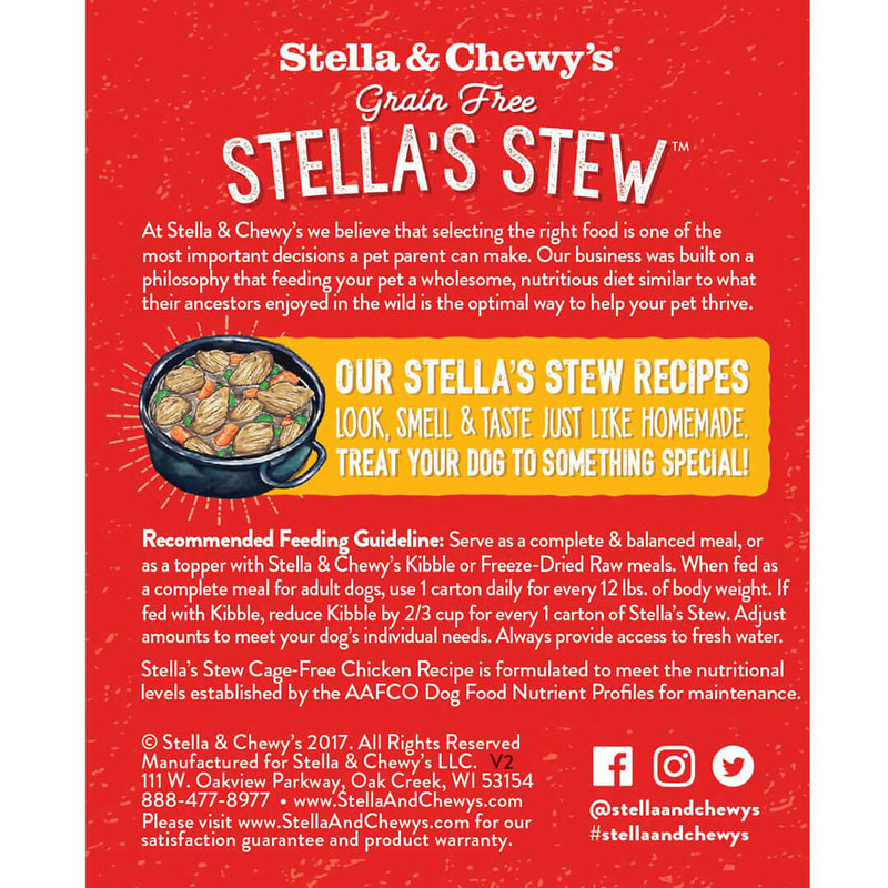 Stella's Stew Cage Free Chicken Wet Dog Food