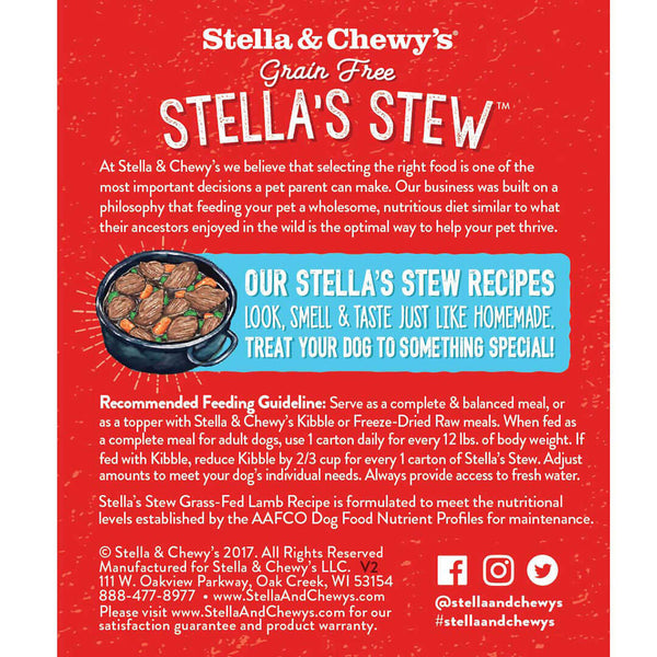Stella's Stew Cage Free Lamb Wet Dog Food