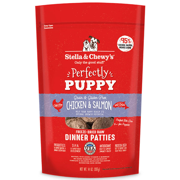 Perfectly Puppy Chicken & Salmon Dinner Patties Freeze-Dried Raw Dog Food