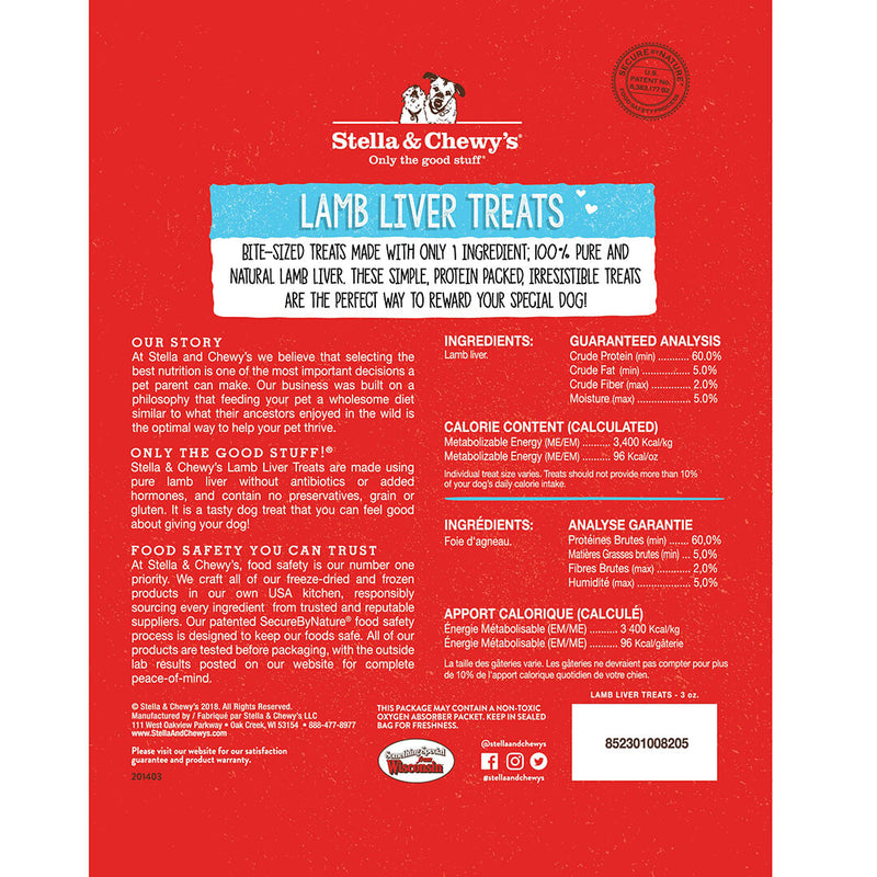 Stella & Chewy's Single Ingredient Lamb Liver Freeze Dried Cat Dog Treats