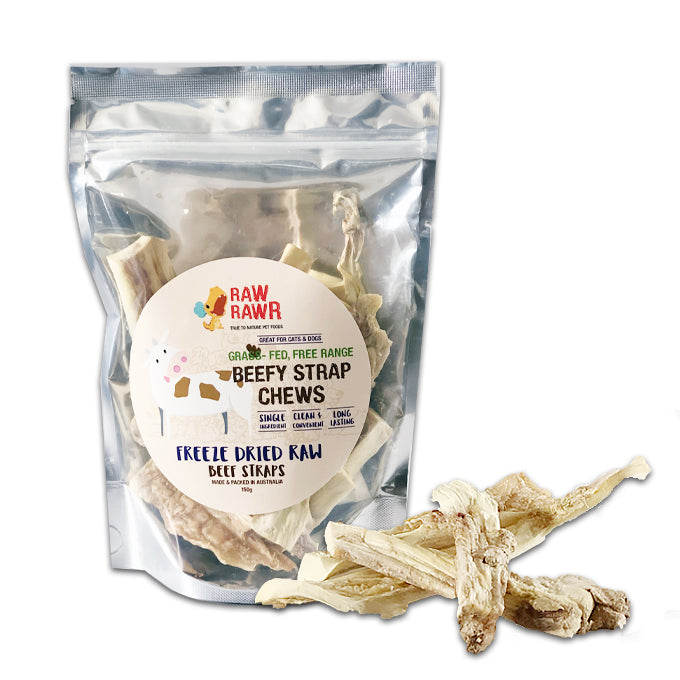 Beefy Strap Chews Freeze Dried Raw Treats for Cats and Dogs