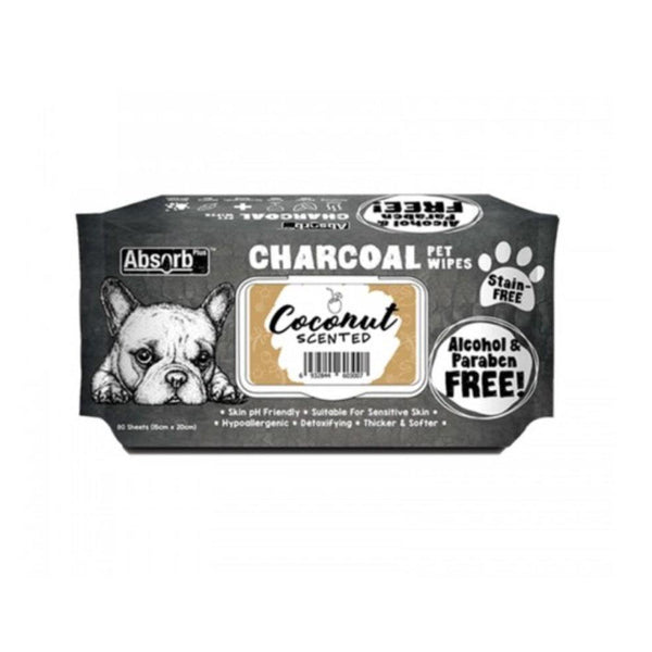 Charcoal  Pet Wipes Coconut Scented 80 sheets