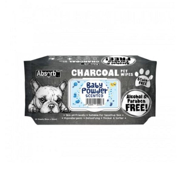 Charcoal  Pet Wipes Baby Powder Scented 80 sheets