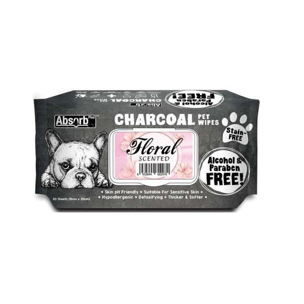Charcoal  Pet Wipes Floral Scented 80 sheets