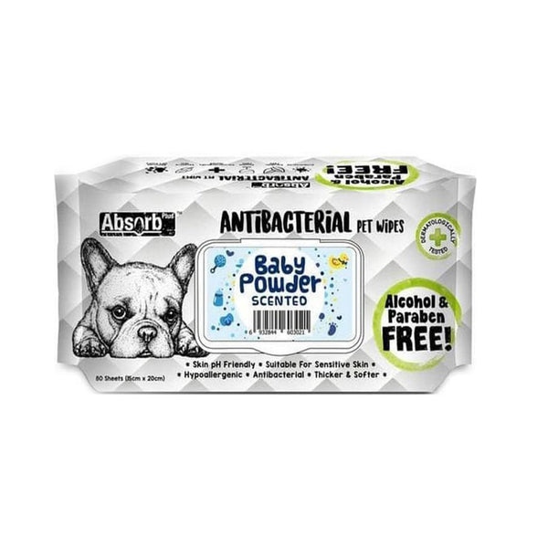 Antibacterial Pet Wipes Baby Powder Scented 80 sheets