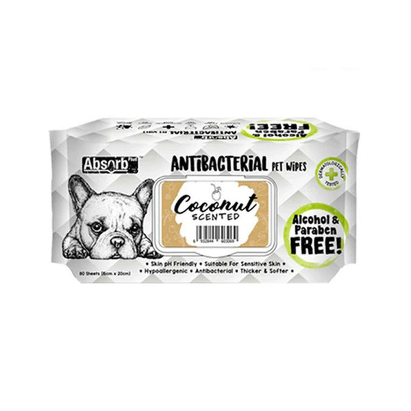 Antibacterial Pet Wipes Coconut Scented 80 sheets