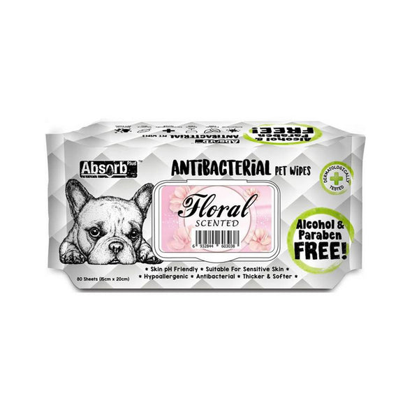 Antibacterial Pet Wipes Floral Scented 80 sheets