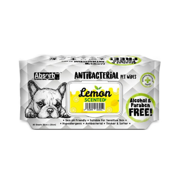 Antibacterial Pet Wipes Lemon Scented 80 sheets