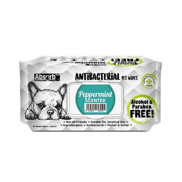 Antibacterial Pet Wipes Peppermint Scented 80 sheets