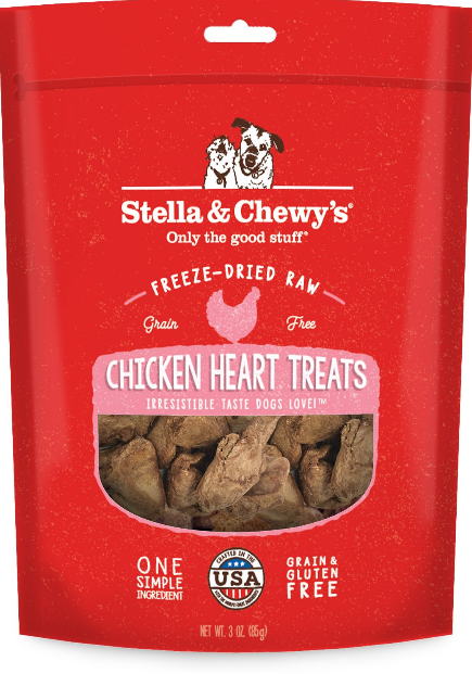 Single Ingredients Chicken Hearts Freeze-Dried Raw Dog Treats
