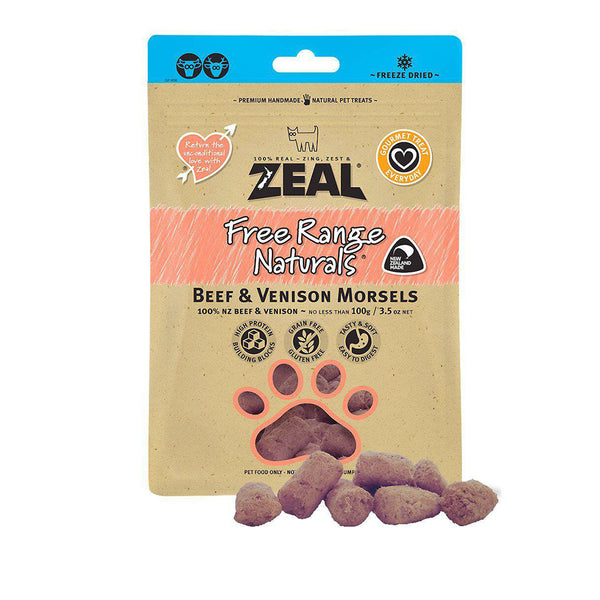 100% Natural Free Range Freeze-Dried Beef & Venison Morsels Dog Treats