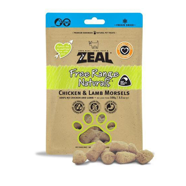 100% Natural Free Range Freeze-Dried Chicken & Lamb Morsels Dog Treats