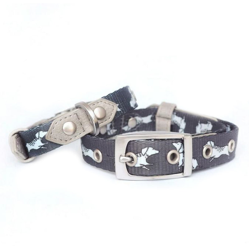 Vegan Leather Dog Collar - The Twiggy (Charcoal)