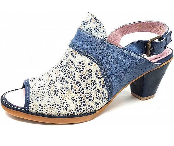 Maciejka Two Tone Heel Sandal - Denim