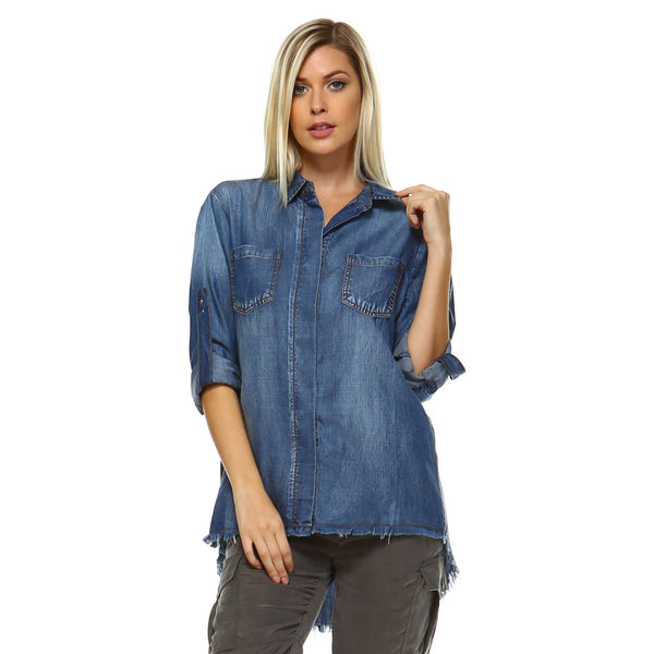 Daphne Button Down Denim Shirt - LilloBellaBoutique.com