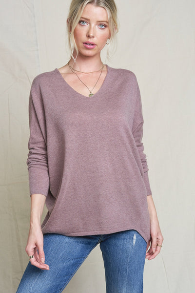 Facetime Pullover Sweater - Heather Mauve - LilloBellaBoutique.com