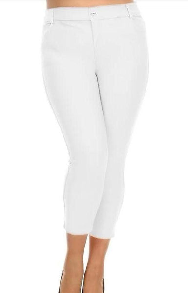 Classic Solid Colour Capri Jegging - White - LilloBellaBoutique.com