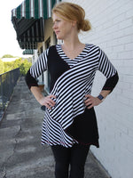 Lior Paris Asymmetrical Stripe Tunic - Black / White