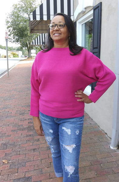 Dolman Sleeve Ribbed Sweater - Hot Pink