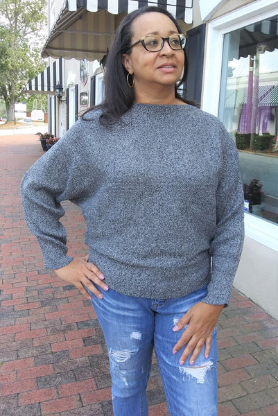 Dolman Sleeve Ribbed Sweater - Heather Black - LilloBellaBoutique.com