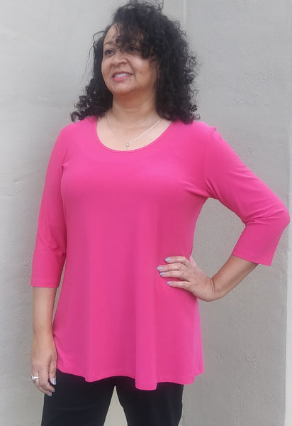 Compli K Basic Round Neck Tunic Top - Margarita. - LilloBellaBoutique.com