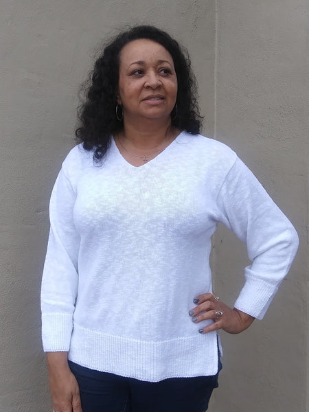 Avalin Classic V-Neck Pullover Tunic Sweater- White
