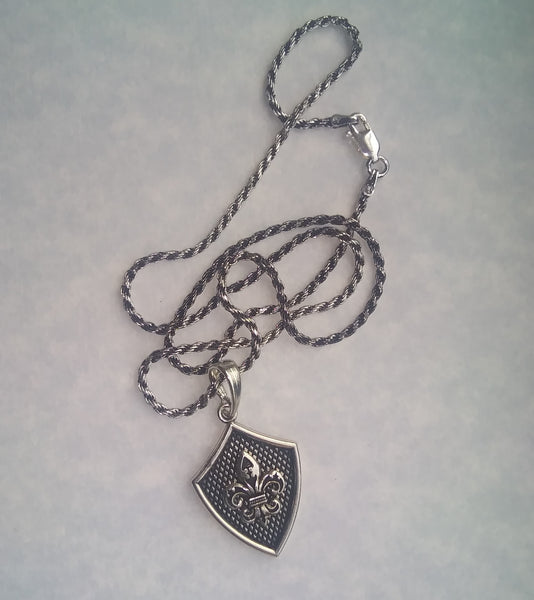 Sterling Silver Fluer De Lis Shield Necklace - LilloBellaBoutique.com