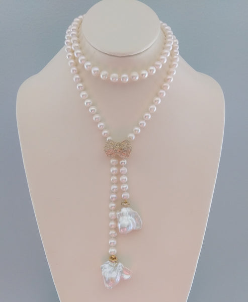 Nala Pearl Lariat Necklace - LilloBellaBoutique.com