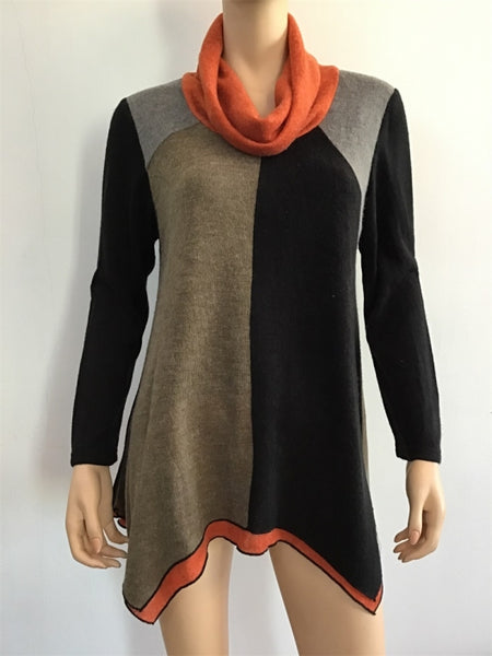 Radzoli Color Block Tunic Sweater