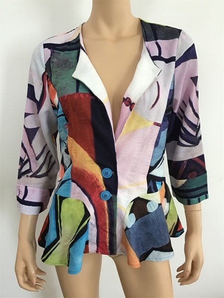 Radzoli 2 Button Peplum Jacket - LilloBellaBoutique.com