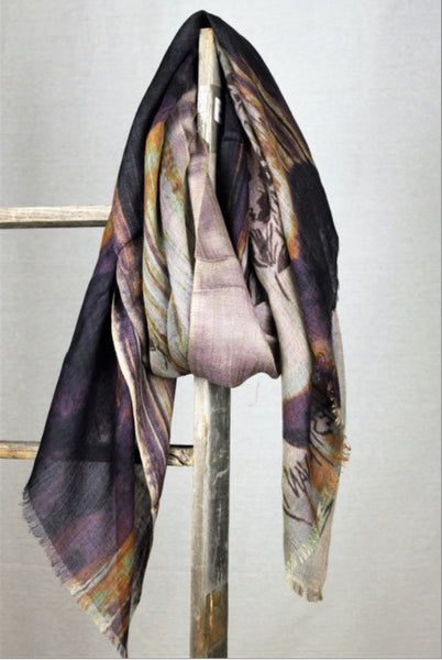 Modal & Cashmere Print Scarf - Whale