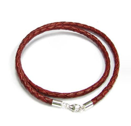 "Sterling Silver Red Woven 20"" Leather Cord, 3mm"