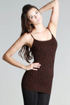 Leopard Print Ribbed Seamless Tank Top - Brown
