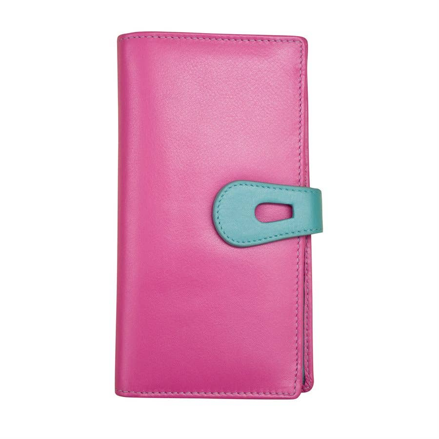Large Leather RFID Wallet W/ Cut-Out Tab Closure