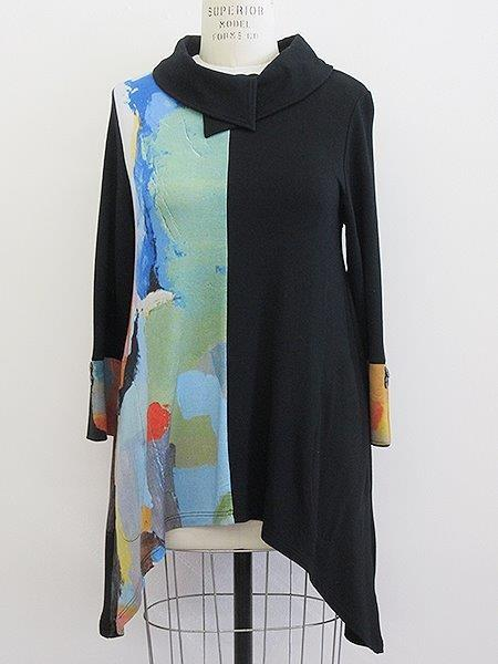 In The City Patchwork Tunic - Black - LilloBellaBoutique.com