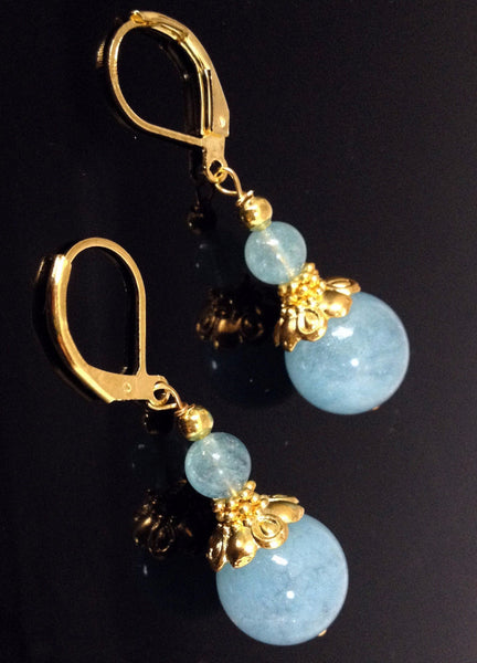 Nora Aquamarine Leverback Earring - LilloBellaBoutique.com