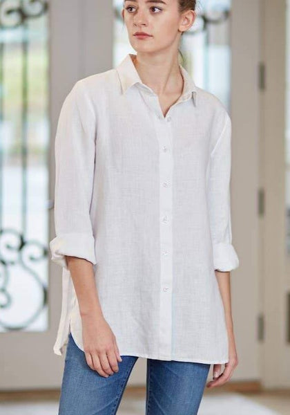 Cameron Button Down Linen Shirt - White - LilloBellaBoutique.com