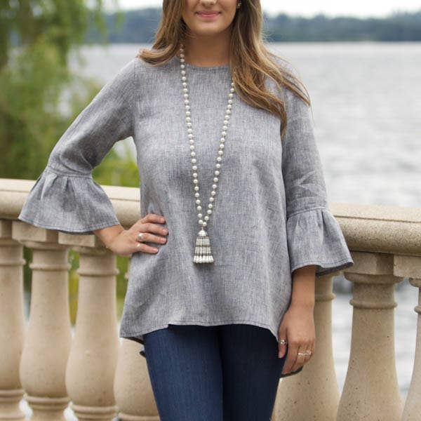 Bella Linen Top - Grey - LilloBellaBoutique.com