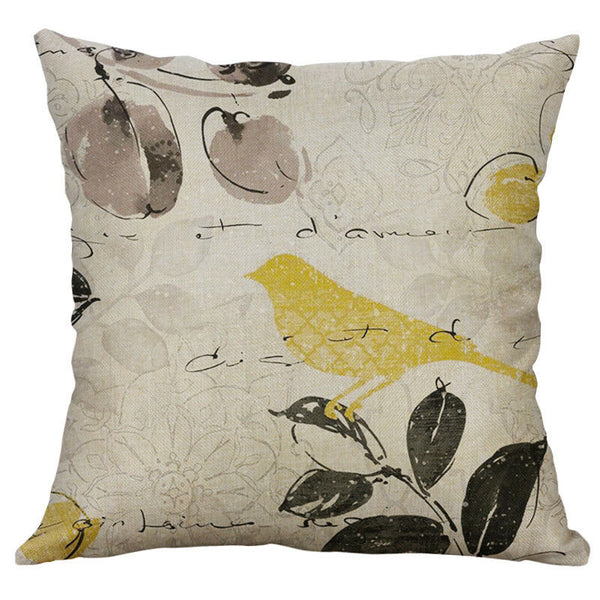 Cotton Linen Pillow Case 16 x 16 set of 2  - Bird Sketch