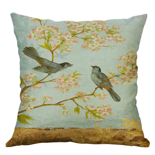 Cotton Linen Pillow Case 18 x 18 set of 2 - Bird Song