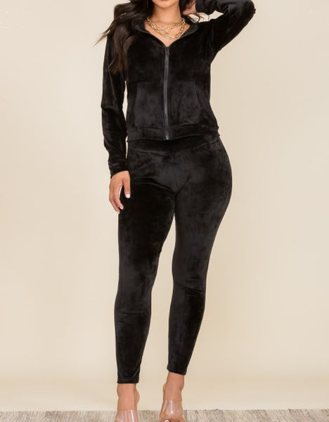Nikki Velvet Hoodie Set - Black - LilloBellaBoutique.com