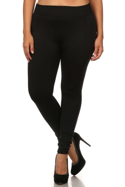 Plus Size Fleece Lined Legging  - Black - LilloBellaBoutique.com