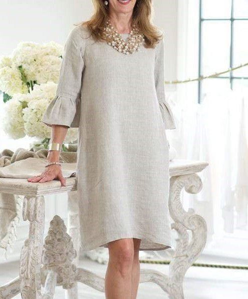 Blakely Linen Dress - Natural - LilloBellaBoutique.com