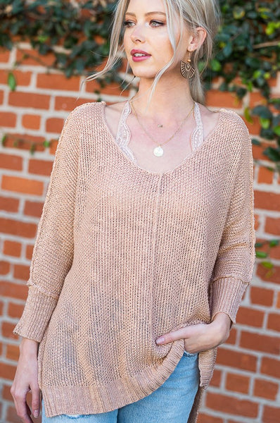 Katie Luxe Sweater Top - Blush