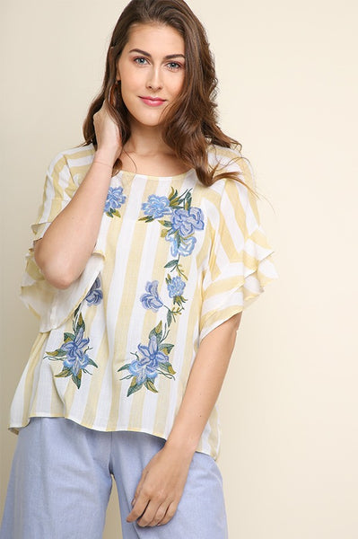 Gigi Embroidered Stripe Top - LilloBellaBoutique.com