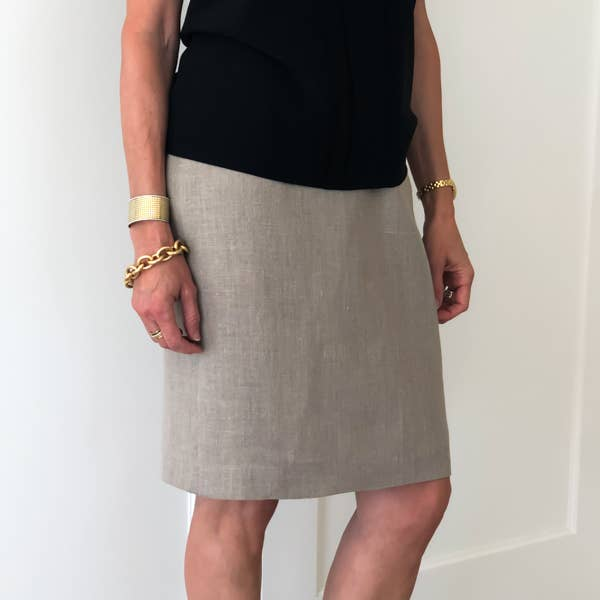 Penny Linen Pencil Skirt - Taupe - LilloBellaBoutique.com