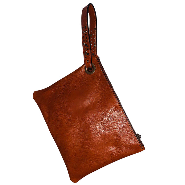 Modern Leather Wristlet Clutch Bag - Chestnut